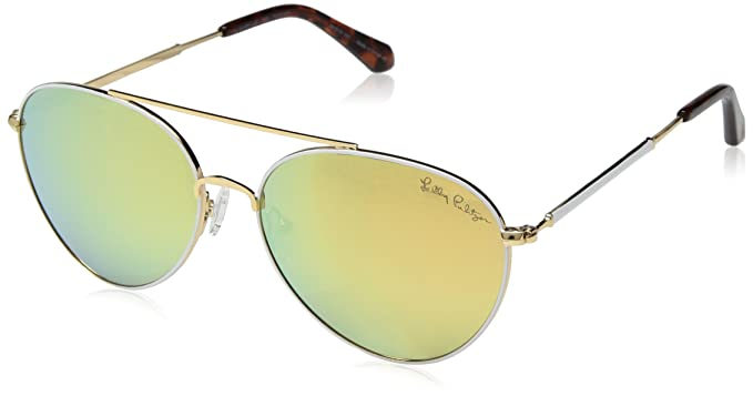 c777e4af0b3 Image Unavailable. Image not available for. Color  Lilly Pulitzer Women s  Isabelle Polarized Aviator Sunglasses ...
