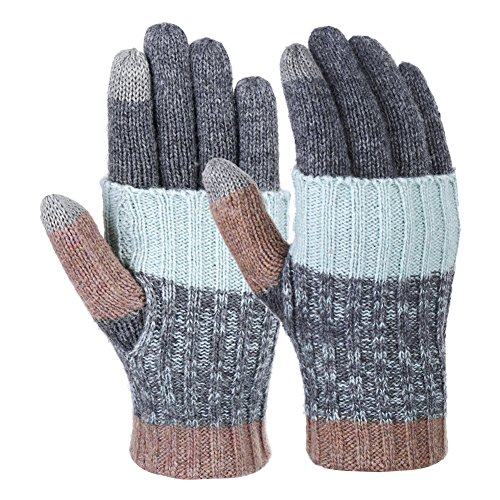 Vbiger Women Winter Gloves Warm Long Knit Gloves Fashionable Outdoor Windproof Full-finger Mittens