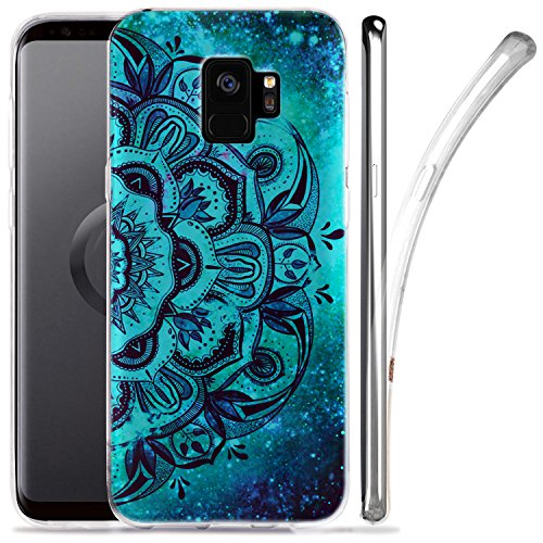Galaxy S9 Case, ZUSLAB Nebula Pattern Design, Slim Flexible Shockproof TPU, Soft Rubber Silicone Glossy Skin Cover for Samsung Galaxy S9, 2018 (Blue Mandala)