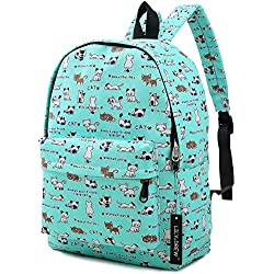 Lightweight Canvas Backpack for Women, Teens and Kids (Cat Blue Medium)