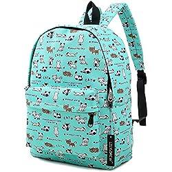 Lightweight Canvas Backpack for Women, Teens and Kids (Cat Blue Medium)