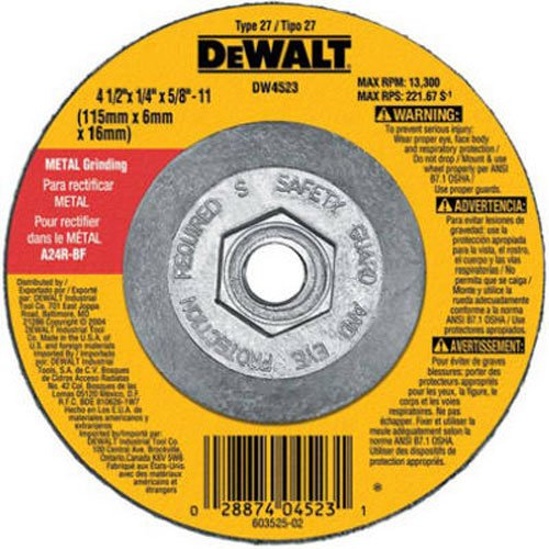 DEWALT DW4523 4-1/2-Inch by 1/4-Inch by 5/8-Inch General Purpose Metal Grinding (Angle Grinder Disc)