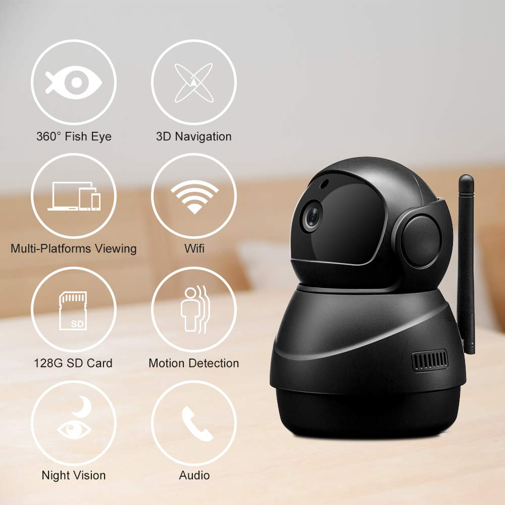 Veroyi IP Camera Full HD 1080P WiFi Home Security Surveillance Camera with Pan/Tilt/Zoom Function, Two Way Audio Night Vision Camera