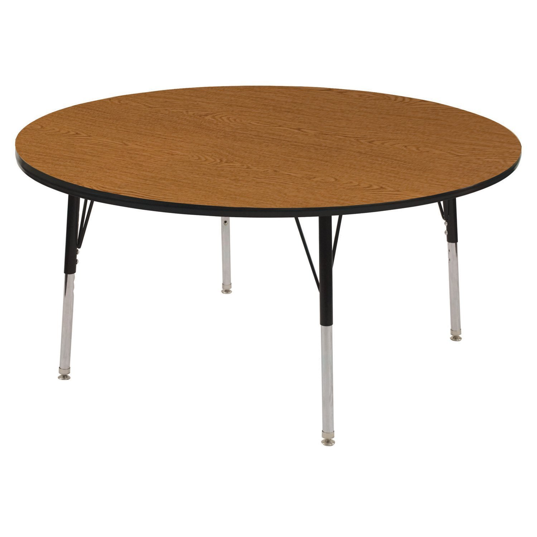ECR4Kids T-Mold 48'' Round Activity School Table, Standard Legs w/ Ball Glides, Adjustable Height 19-30 inch (Oak/Black)