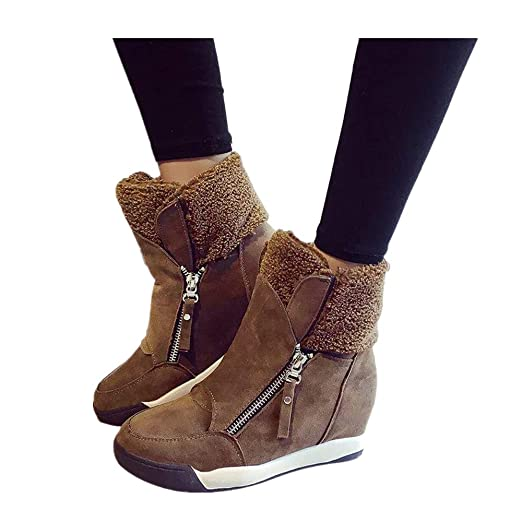 5654f706668 Wedge Snow Boots for Women Plush Muffin Shoes Sneakers Suede Casual Keep  Warm Booties