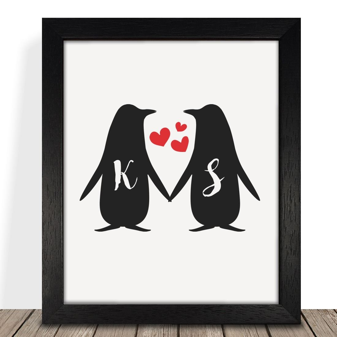 Personalised Presents Gifts For Him Her Husband Wife Couples Boyfriend Girlfriend Wedding Anniversary Valentines Day Christmas Xmas Love Penguins Initials Framed Prints Posters Home Decor Premio Printz