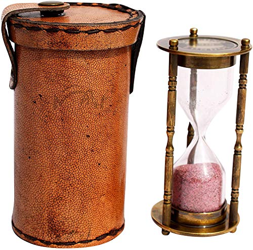 MAH 1 Minute Antique Decorative Brass Sand Timer with Safety Leather Case. C-3071