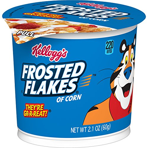 Frosted Flakes Kellogg's Breakfast Cereal in a Cup, Fat-Free, Single Serve, 2.1 oz Cup(Pack of 12)