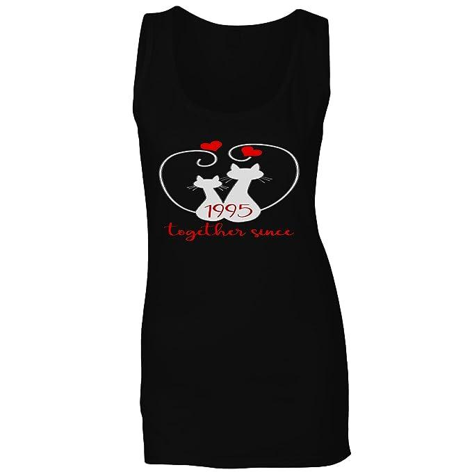 Gatos que amamos juntos desde 1995 camiseta sin mangas mujer f215ft: Amazon.es: Ropa y accesorios