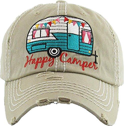 Camping Camper - H-212-HC13 Distressed Vintage Patch Dad Hat - Happy Camper (Khaki)