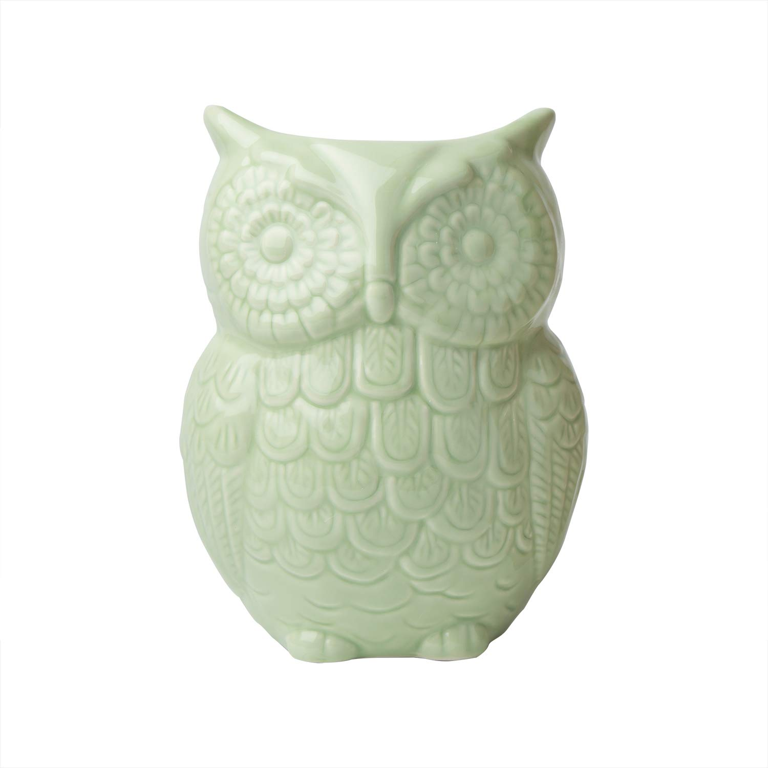 """Comfify Owl Utensil Holder Decorative Ceramic Cookware Crock & Organizer, in Lovely Green Color - Utensil Caddy and Perfect Kitchen Ceramic Décor Gift - 5"""" x 7"""" x 4"""" Size"""