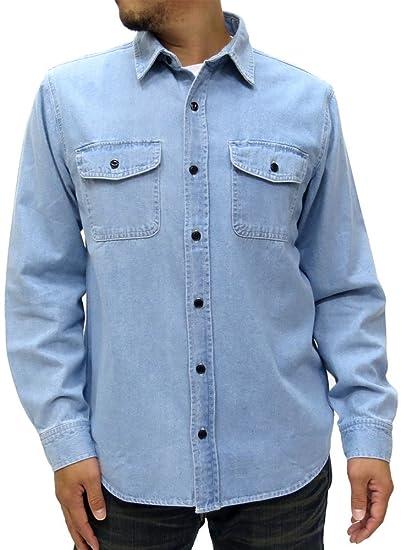 e5ba38778582 Nylaus Jeans Men s Denim Work Shirt with Pocket Long Sleeve (Medium ...