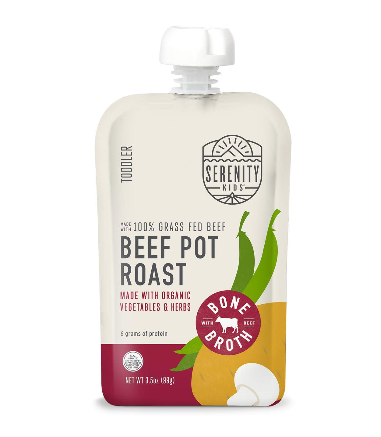 Serenity Kids Toddler Purees, Grass Fed Beef Pot Roast with Bone Broth, For 6+ Months, 3.5 Ounce Pouch (12 Count)