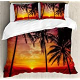 Tropical Decor Queen Size Duvet Cover Set by Ambesonne, Sunset Tropical Beach Palm Trees Peaceful Ocean Evening View Resort, Decorative 3 Piece Bedding Set with 2 Pillow Shams