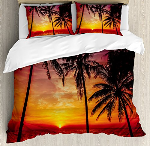 Tropical Beach And Peaceful Ocean: Tropical Decor King Size Duvet Cover Set By Ambesonne