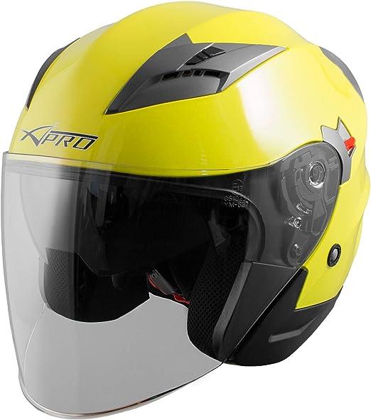 Demi Jet Casque Visi/ère Pare Soleil ECE 22-05 Approuv/é Moto Scooter A-Pro Kinetic Fluo XS
