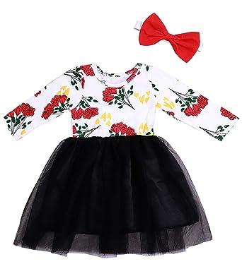 7d2a6f8da Amazon.com  Little Girl Clothes Printed Long Sleeve Black Lace Tutu ...