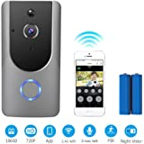 Mucjun 720P WiFi Video Doorbell Wireless Door Bells 166° Wide Angle Security Camera Doorbell with Two-Way Audio,Motion Detection,IR Night Vision, APP Control for Office Home Security