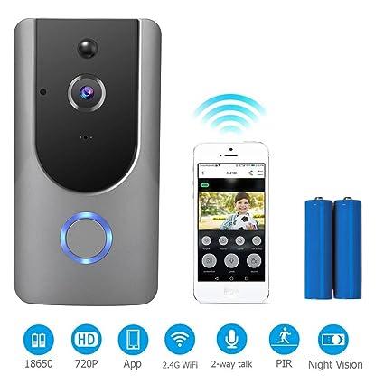 720P HD Timbre WiFi inteligente 166 grados timbre de video con 2 baterías recargables Función de