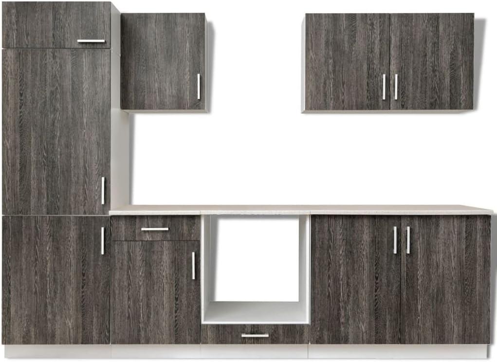 Armario de cocina con aspecto de wengué, para nevera integrada, 7 unidades: Amazon.es: Hogar