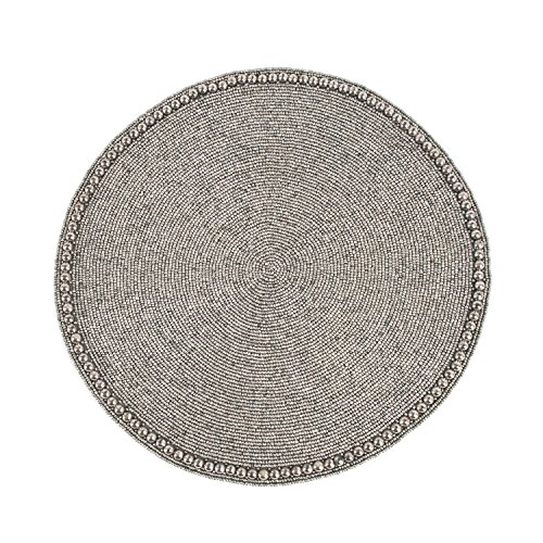 Pewter Color Glass Beaded Placemat 15'' Round , (4 Piece Set) by Occasion Gallery