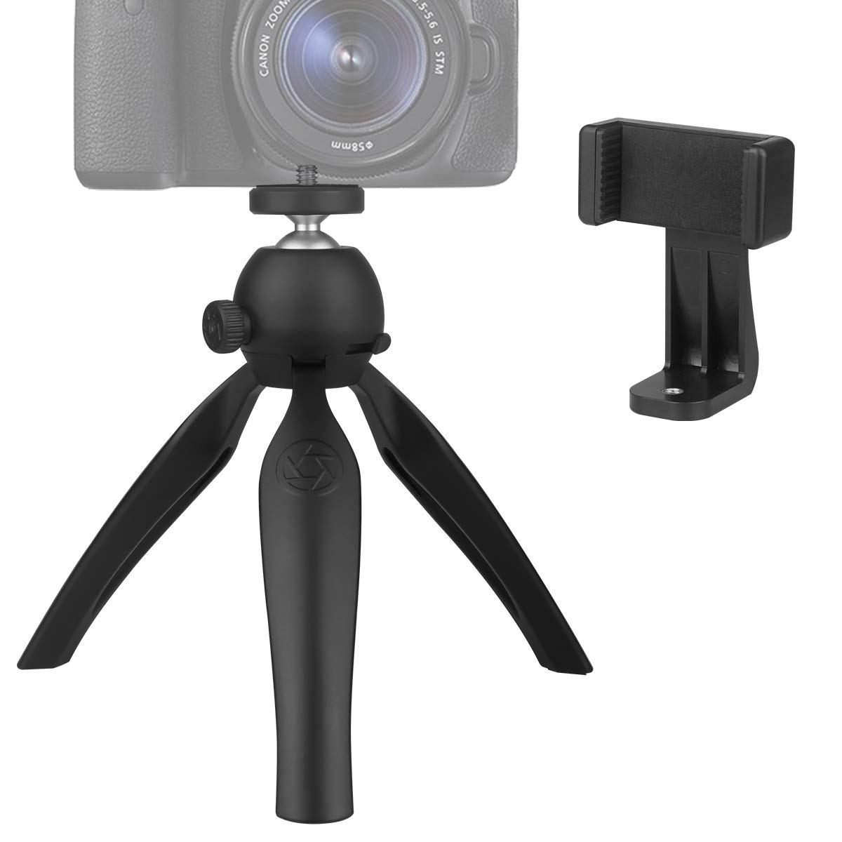 Mini Camera Tripod Portable Phone Tripod for iPhone Digital Video Camera Sports Camcorder with 360 Degree Adjustable Flexible Clamp Suitable for Travel Table Desk