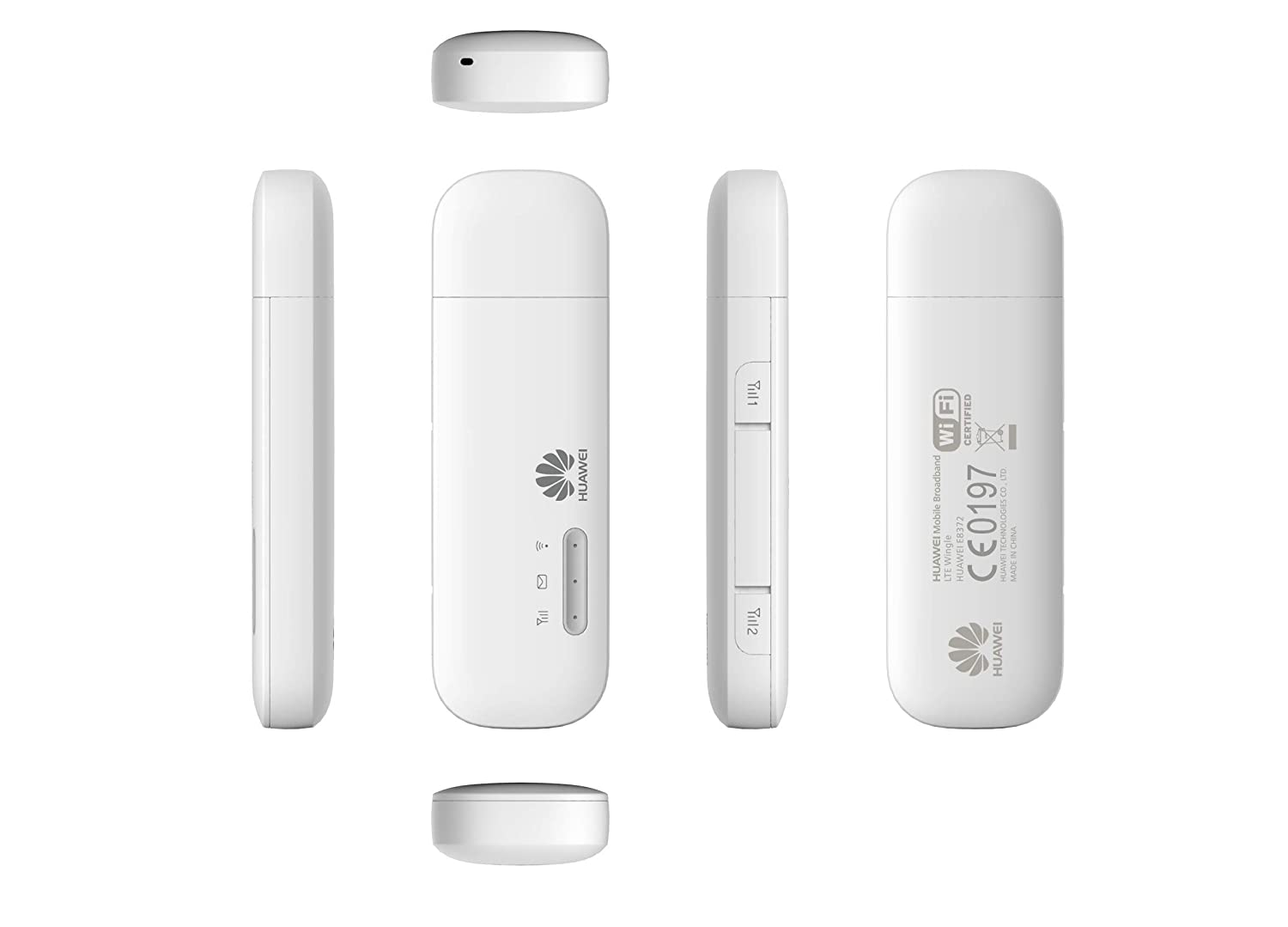 Huawei E8372h-153 Unlocked 150 Mbps 4G LTE & 43 2 Mpbs WiFi USB Wingle (4G  LTE in Europe, Asia, Middle East and Africa) (White)