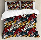 Ambesonne African Duvet Cover Set Queen Size, Diagonal Abstract Leaves with Circles Chevrons Lines Traditional Cultural Heritage, Decorative 3 Piece Bedding Set with 2 Pillow Shams, Multicolor