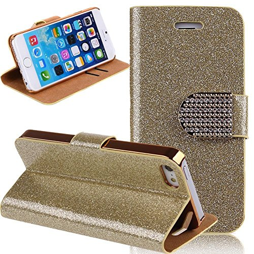 """UZZO™Cases For Iphone 6 Plus,Luxury Gold Sparkle Bling Glitter Diamond PU Leather Wallet Case Cover With Card and ID Holder + Magnetic Detachable Closure,Protective Flip Case For Iphone 6 Plus 5.5"""" Screen With 1Free UZZO Logo Keyring"""