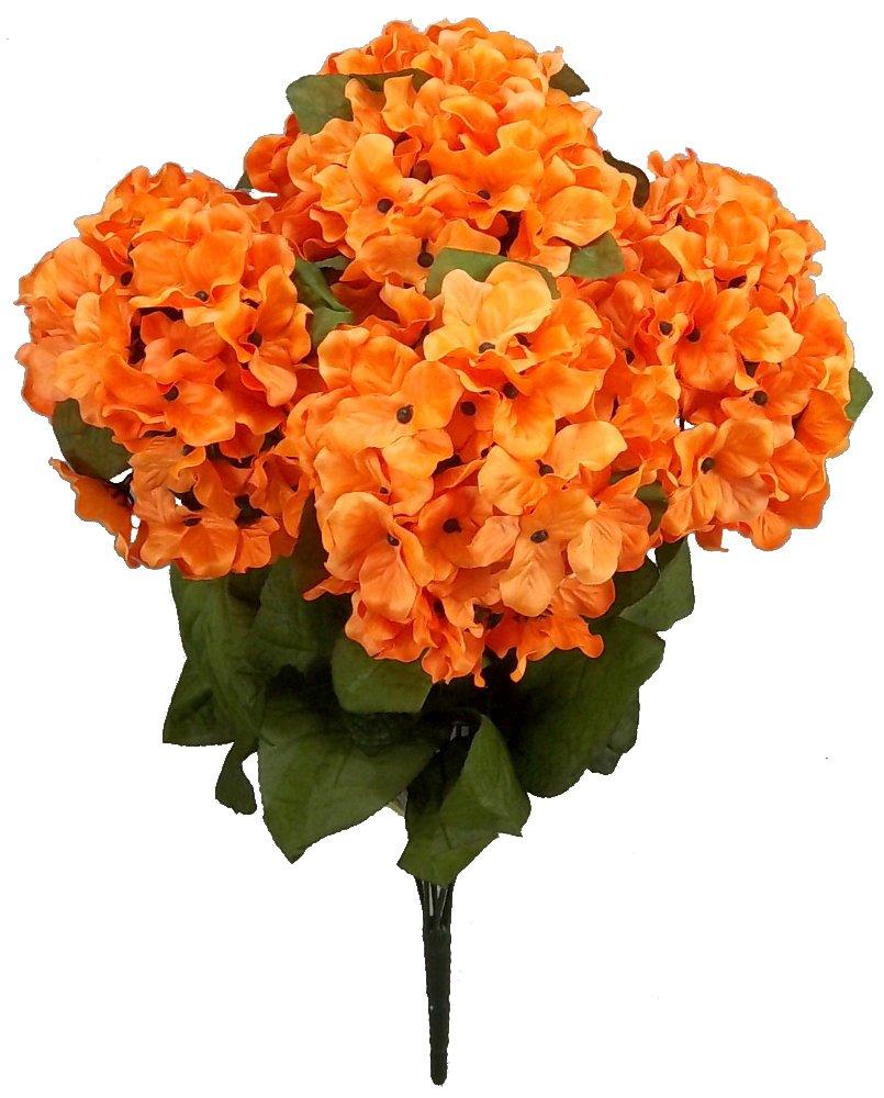 silk flower arrangements admired by nature 7 stems artificial full blooming stain hydrangea for home, restaurant, wedding & office decoration arrangement, orange