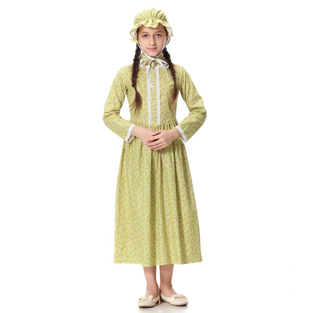 Pioneer Girl Costume Colonial Prairie Dress for Kids 100% Cotton,US14 by KOGOGO (Image #1)