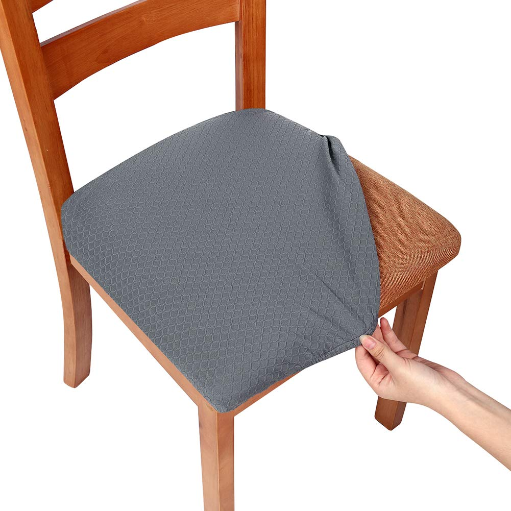 Pleasant Smiry Stretch Spandex Jacquard Dining Room Chair Seat Covers Removable Washable Anti Dust Dinning Upholstered Chair Seat Cushion Slipcovers Set Of Complete Home Design Collection Barbaintelli Responsecom
