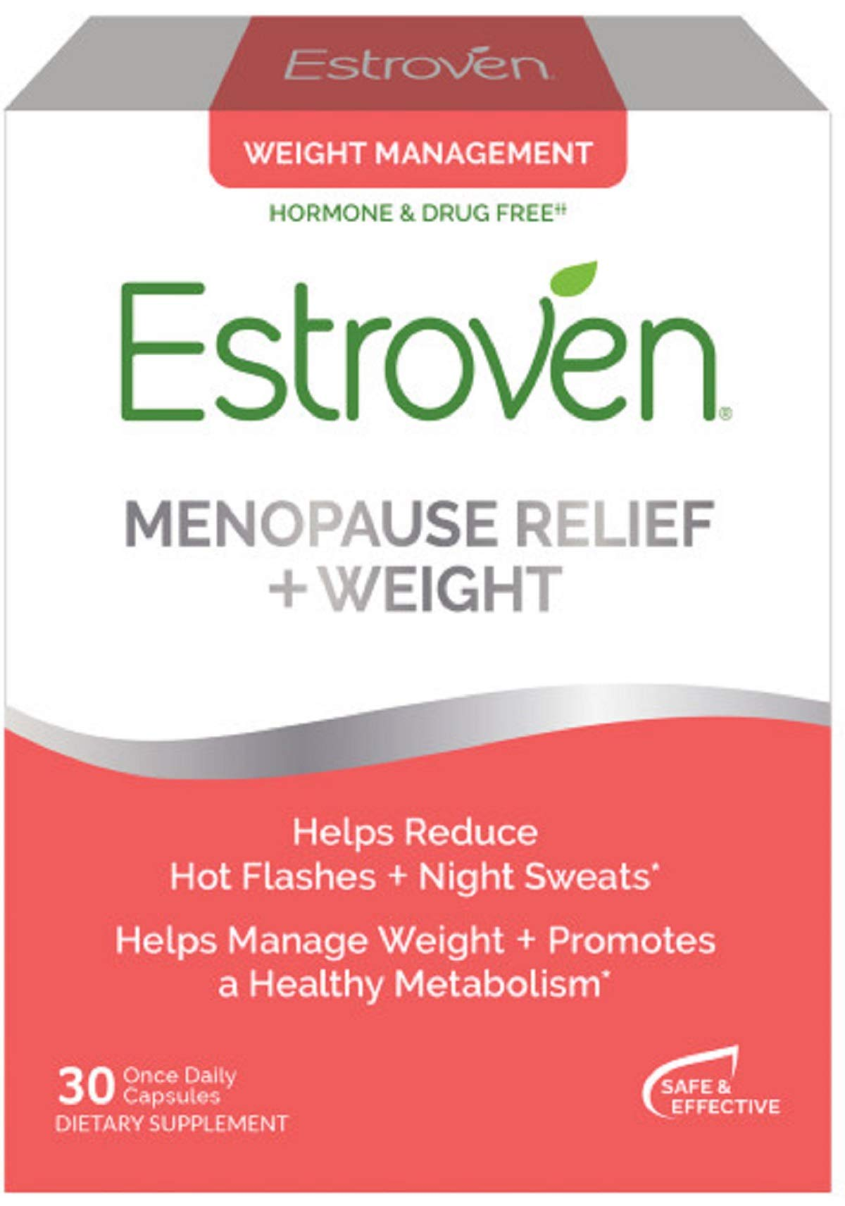 Estroven Weight Management | Menopause Relief Dietary Supplement | Safe Multi-Symptom Relief | Helps Reduce Hot Flashes & Night Sweats* | Helps Manage Weight* | Drug Free & Estrogen Free* | 30 Caplets by Estroven