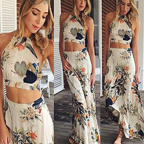 Janecrafts Women Floral Print Crop Top Cross Back Backless Two Piece Party Maxi Dress