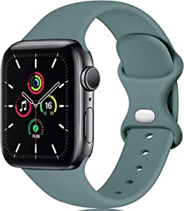 LGEBHS Sport Silicone Bands Compatible with Apple Watch Band 38mm 42mm 40mm 44mm, Silicone Sport Strap Replacement Bands Compatible for Iwatch Series 6/5/4/3/2/1.Cactus 38mm/40mm S/M