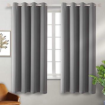 BGment Vorhang blickdichte Vorhänge mit Ösen 137 cm x 117 cm (H x B), Grau  2 Stücke Verdunkelungsvorhänge Isolierung, Dekorative und Undurchsichtig,  ...