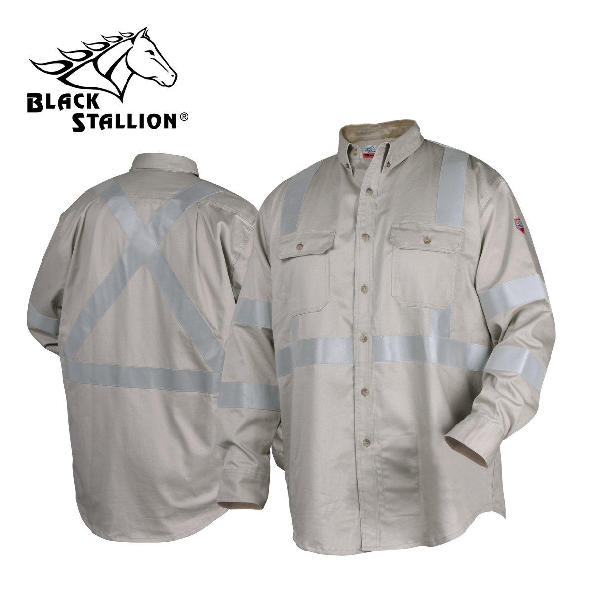 Black Stallion TruGuard 300 NFPA 2112 FR Work Shirt w/ Reflectives - 3X