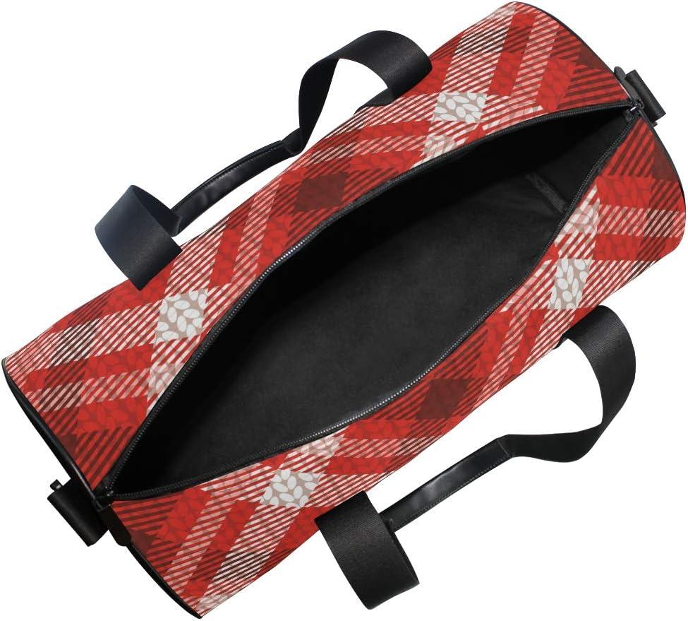 MALPLENA Poinsettia Tartan Christmas Drum gym duffel bag women Travel Bag