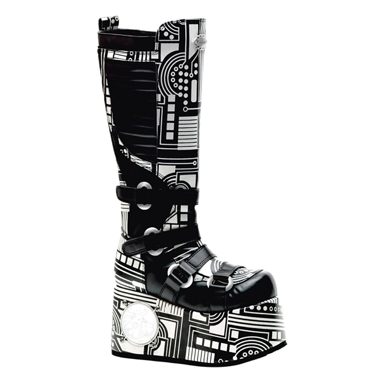 Mens Gothic Boots Black White 4 1/2 Inch Platform Knee High UV Neon MENS SIZING