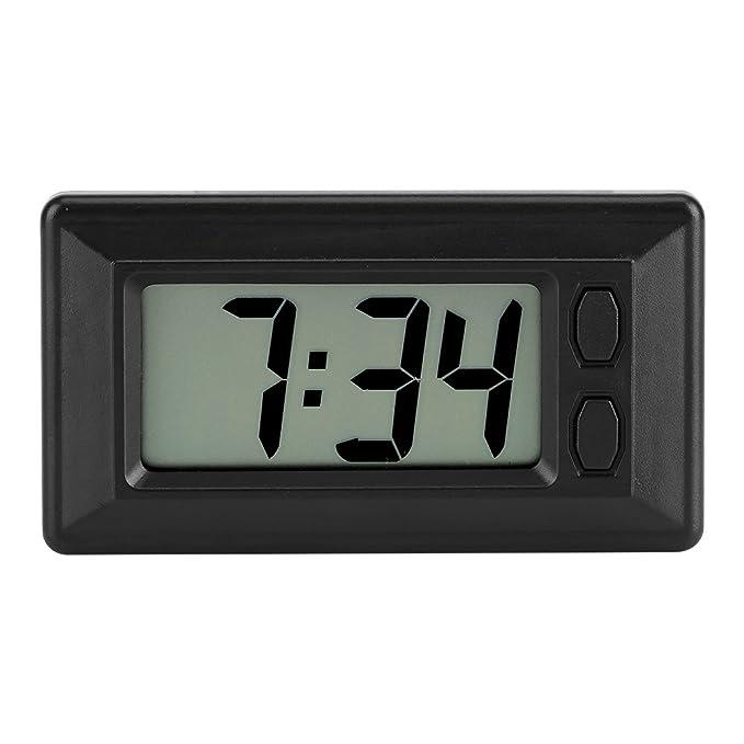 Mini reloj digital LCD para cuadro de moto, coche o escritorio, reloj electrónico con visualización de fecha, 24 horas y calendario, con adhesivo mágico 7,7 ...