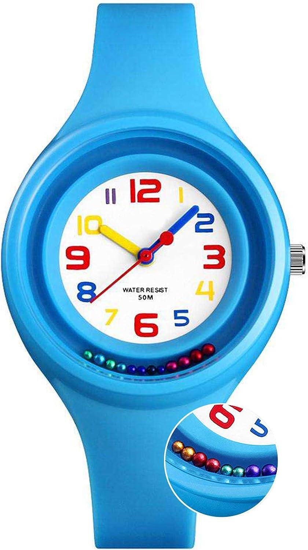 Niños Relojes digitales para niños niña, 5 ATM reloj analógico deporte impermeable para niños Regalos de cumpleaños/Navidad/tiempo, Relojes de pulsera digitales con cuentas giratorias para niños Azul