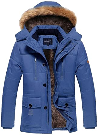 fashciaga Menu0027s Winter Hooded Faux Fur Lined Coat Outdoor Jacket (X-Small,  Blue