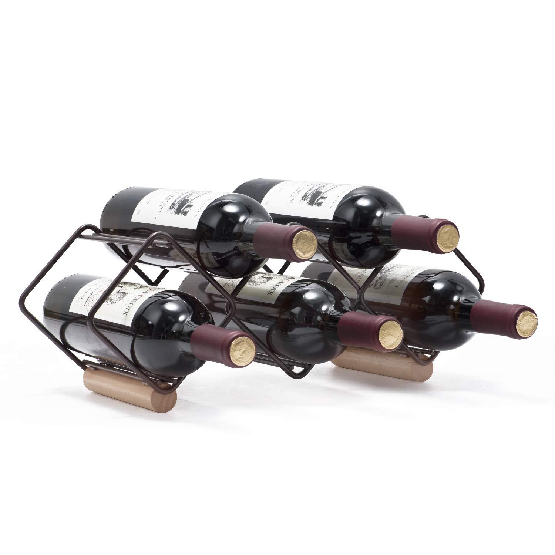 KINGRACK Tabletop Wine Rack, 5 Bottle Wine Holder Storage Stand with Stylish Design, Perfect for Home Decor, Bar, Wine Cellar, Basement, Cabinet, Pantry-Set of 1, Wood & Metal(Copper)