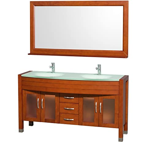 Wyndham Collection Daytona 60 Inch Double Bathroom Vanity In Cherry With  Green Glass Top With Green