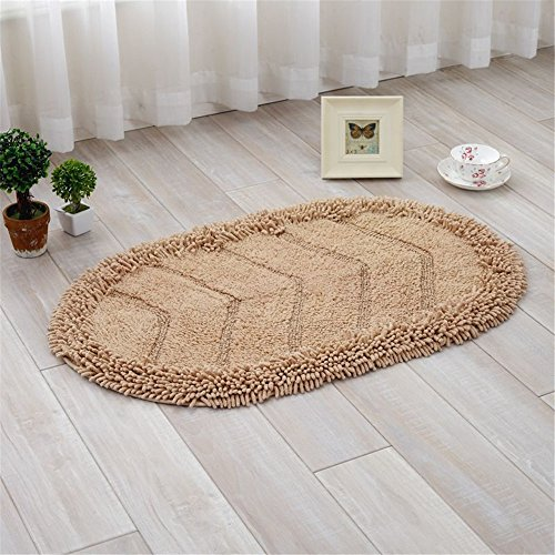 JSJ_CHENG Oval Solid Color Cotton Chenille Microfiber Bath Rugs for Bathroom, Kitchen, Doormats (15.7inch by 23.6inch, Coffee)