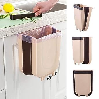 Collapsible Kitchen Countertop Cupboard Door Hanging Food Waste Bin Home Dustbin