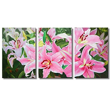 Amazon.com: JoyArt - Flower Painting Pink Lily Canvas Prints Modern ...