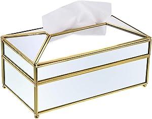 Sumnacon Rectangular Mirror Glass Paper Tissue Box, Decorative Glass Napkin Storage Box, Facial Tissue Holder for Dresser, Bathroom, Bedroom, Home Decor, Office, Bar, Restaurant, Large