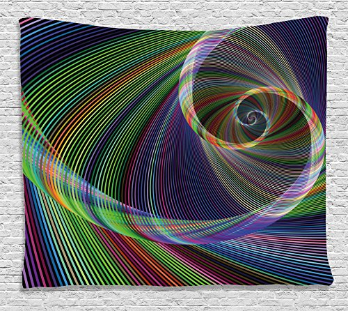 Purple Swirl Tapestry - Ambesonne Fractal Tapestry, Dynamic Spiral Digital Background Energy Motion Swirl Artful Modern Illustration, Wall Hanging for Bedroom Living Room Dorm, 60 W X 40 L Inches, Green Purple