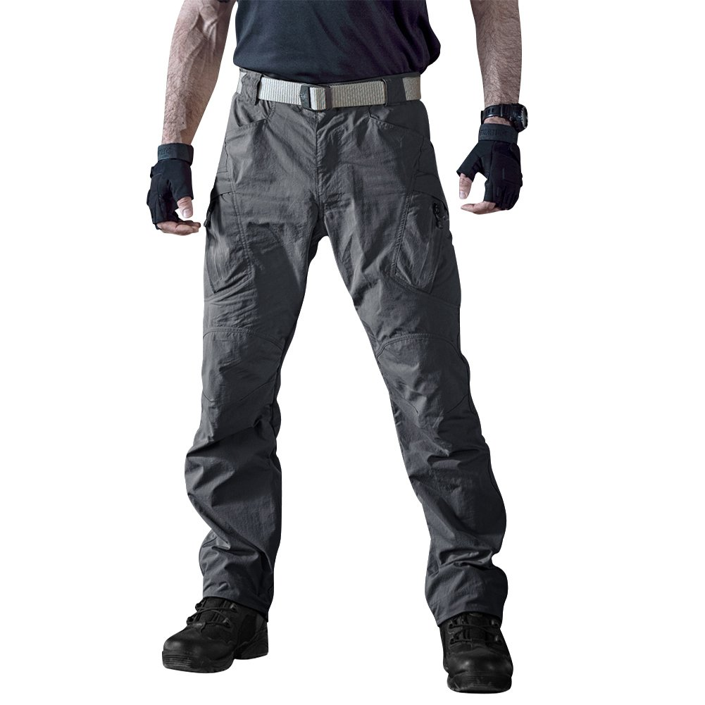 TACVASEN Men's Waterproof Quick Drying Lightweight UV Protection Cargo Pants Military Durable Trousers Gray